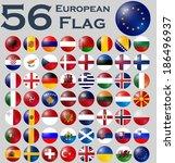 vector set of european flags. | Shutterstock .eps vector #186496937