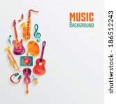 colorful music background | Shutterstock .eps vector #186512243
