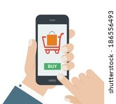 mobile shopping button  flat... | Shutterstock .eps vector #186556493