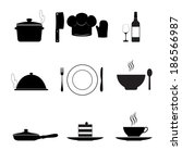 cooking and kitchen icons ... | Shutterstock . vector #186566987