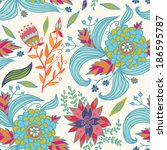 blue flowers doodle seamless... | Shutterstock . vector #186595787