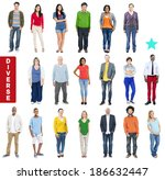 group of multiethnic diverse... | Shutterstock . vector #186632447