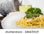 spaghetti al pesto  a typical... | Shutterstock . vector #18665419