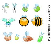collection of funny stylized... | Shutterstock .eps vector #186655493
