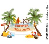vector palm with banner | Shutterstock .eps vector #186672467