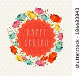 colorful happy spring greeting... | Shutterstock .eps vector #186683843