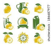 lemon labels and elements set.... | Shutterstock .eps vector #186687977