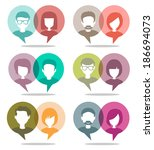 people chatting set | Shutterstock .eps vector #186694073