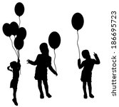 vector silhouettes of girls... | Shutterstock .eps vector #186695723