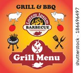 grill and barbecue signs ... | Shutterstock .eps vector #186696497