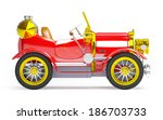 1910 red retro car on a white... | Shutterstock . vector #186703733
