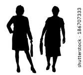 vector silhouette of women on a ... | Shutterstock .eps vector #186707333