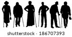 vector silhouette of old people ... | Shutterstock .eps vector #186707393