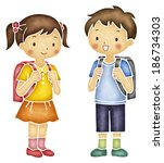 asian school boy and girl with... | Shutterstock . vector #186734303
