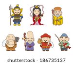 japanese seven gods of fortune | Shutterstock . vector #186735137