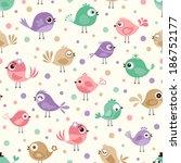 seamless birds pattern | Shutterstock .eps vector #186752177