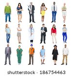 group of multiethnic mixed... | Shutterstock . vector #186754463