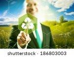 pressing virtual screen... | Shutterstock . vector #186803003