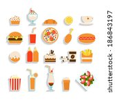 set of fast food icons | Shutterstock .eps vector #186843197