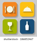 modern flat food icon set for... | Shutterstock . vector #186852467