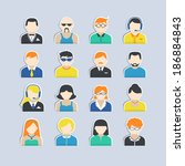 avatar icons stickers users... | Shutterstock .eps vector #186884843