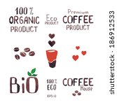 set of coffee icons  labels ... | Shutterstock .eps vector #186912533