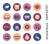 flat round icon set with long... | Shutterstock .eps vector #186933707