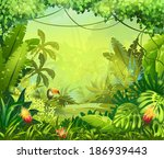 jungle toucan and flower. for... | Shutterstock . vector #186939443