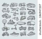 transportation icons sketch ... | Shutterstock .eps vector #186947207