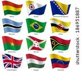 set  flags of world sovereign... | Shutterstock .eps vector #186951887