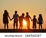 happy children silhouettes on... | Shutterstock . vector #186960287