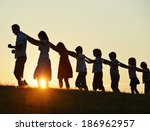 concept of silhouettes on... | Shutterstock . vector #186962957
