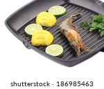 frying pan with shrimp and... | Shutterstock . vector #186985463