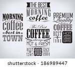 retro coffee  labels and... | Shutterstock . vector #186989447