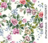 Stock photo seamless floral pattern with of red purple and pink roses on light background watercolor 187000937