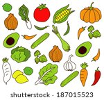 vector of vegetables freehand | Shutterstock .eps vector #187015523