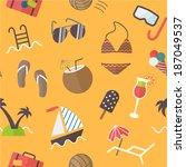 seamless summer pattern  flat... | Shutterstock .eps vector #187049537