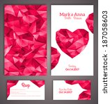Wedding invitation cards template with abstract polygonal heart. Vector illustration.  - stock vector