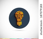 bulb icon with gears and cogs....