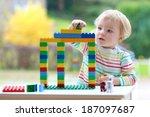 happy child  cute blonde... | Shutterstock . vector #187097687