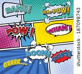 comic template vector pop art | Shutterstock .eps vector #187098743