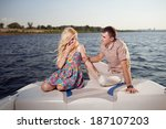 young happy couple on the boat | Shutterstock . vector #187107203