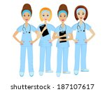 group young doctors on white... | Shutterstock .eps vector #187107617