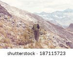 hiking in  mountains | Shutterstock . vector #187115723