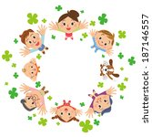 clover and happy family | Shutterstock .eps vector #187146557