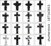 grunge crosses | Shutterstock .eps vector #187163813
