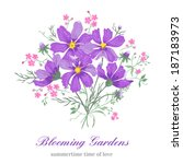 greeting card with beautiful... | Shutterstock .eps vector #187183973