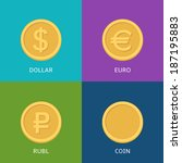 vector set of flat coins on... | Shutterstock .eps vector #187195883