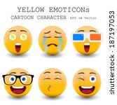 yellow emoticon cartoon... | Shutterstock .eps vector #187197053