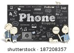 words of social media and phone ... | Shutterstock . vector #187208357